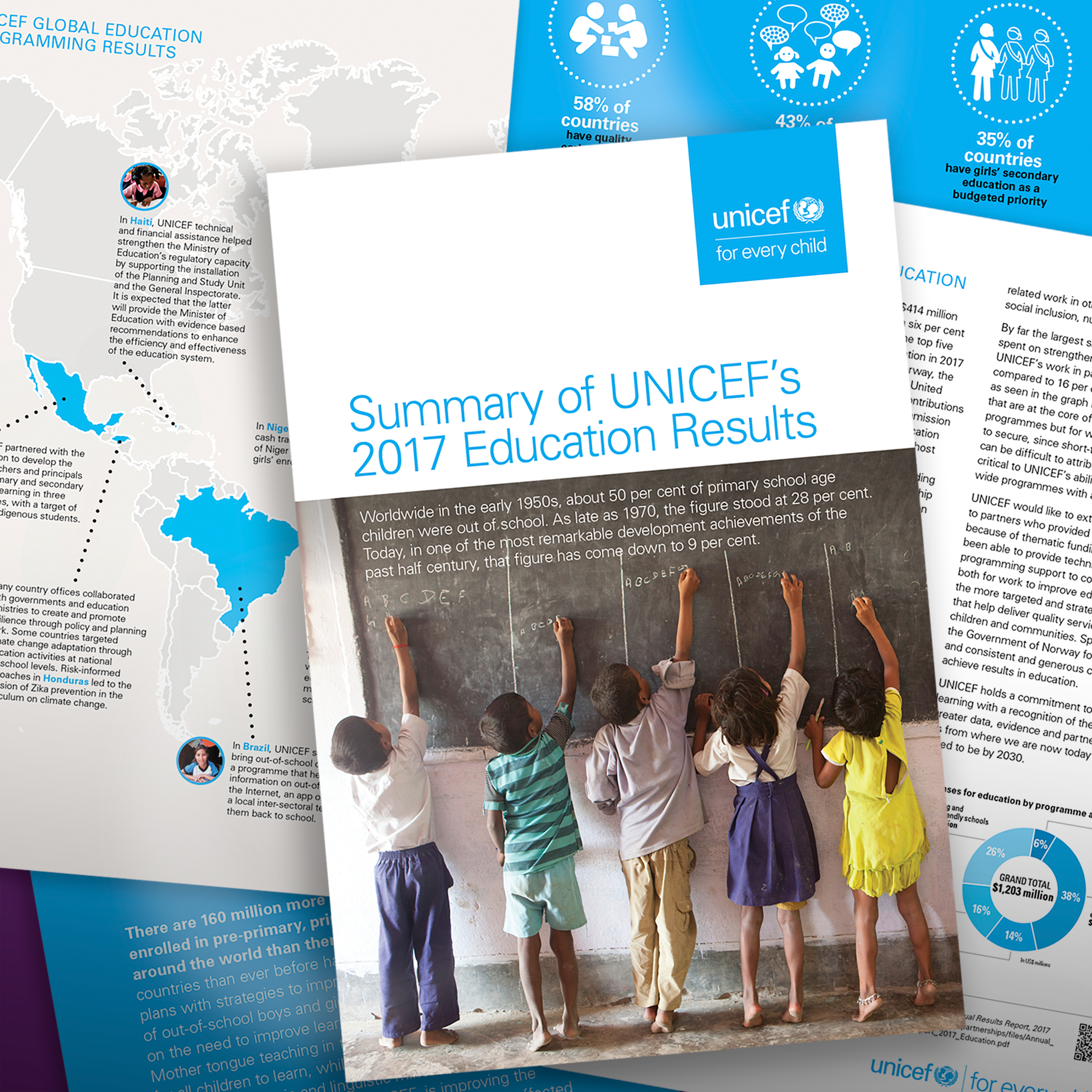 UNICEF, Education Section   This eight-page gatefold brochure highlights the Education Sections 2017 results with unanticipated fanfare.