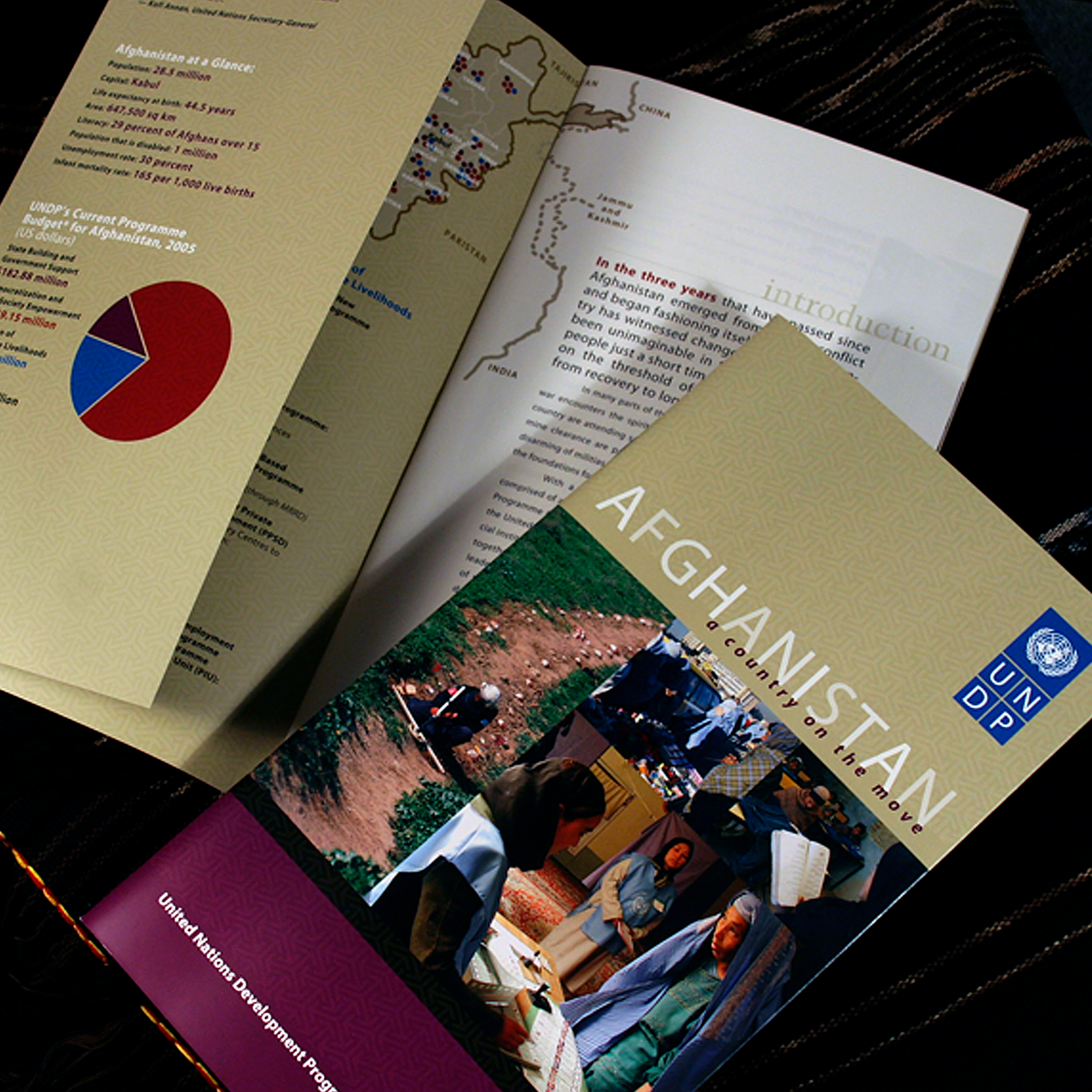 Informative Brochure   A successful brochure educating UNDP's audience on its involvement and successful campaigns – voting support, landmine eradication, education – in Afghanistan.