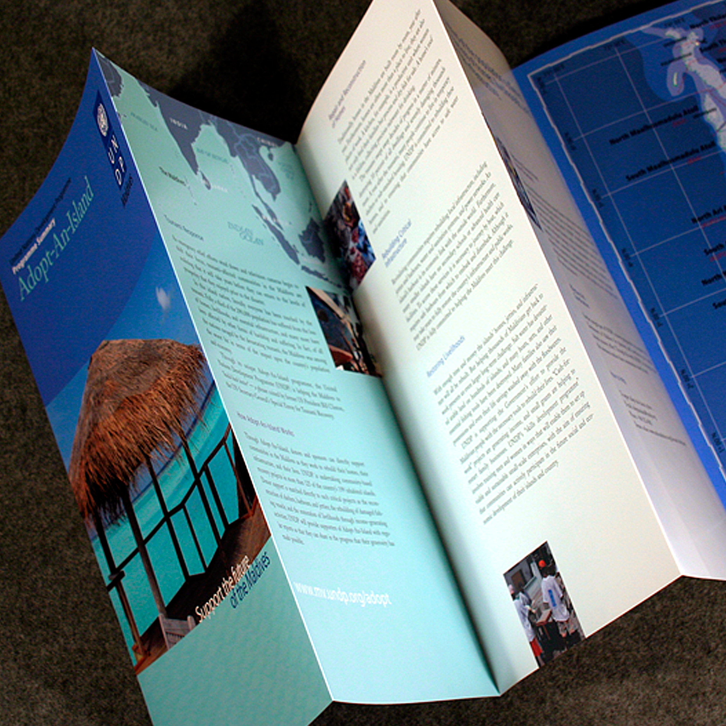 Adopt-An-Island Campaign – Brochure, Side B   As part of the informative and fundraising package for Adopt-An-Island, This side of the 10-panel brochure presented the solutions UNDP was planning. Side B