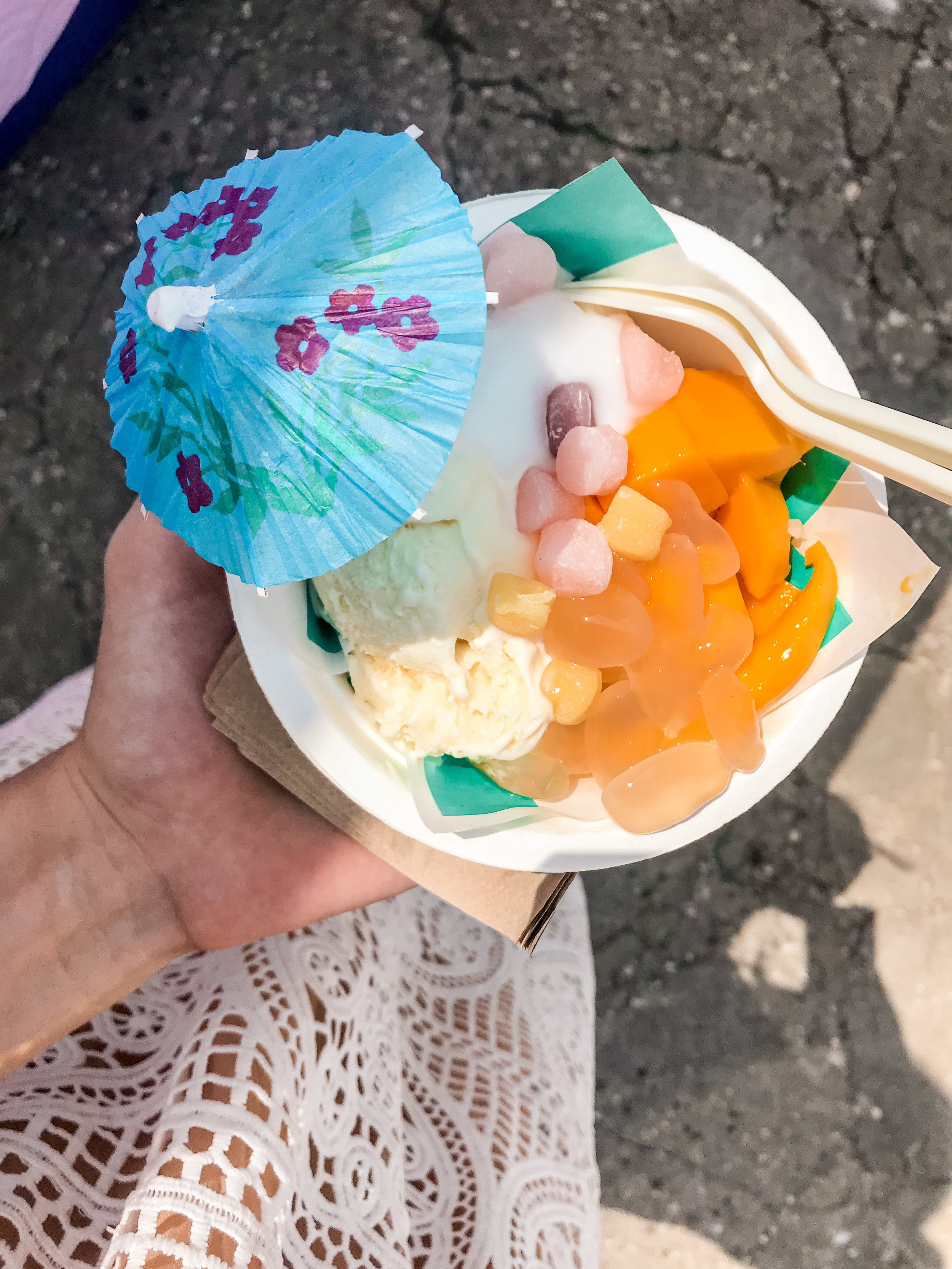 Thai Sticky Rice Ice Cream with mochi, lychee, mango and coconut cream at Smorgasburg