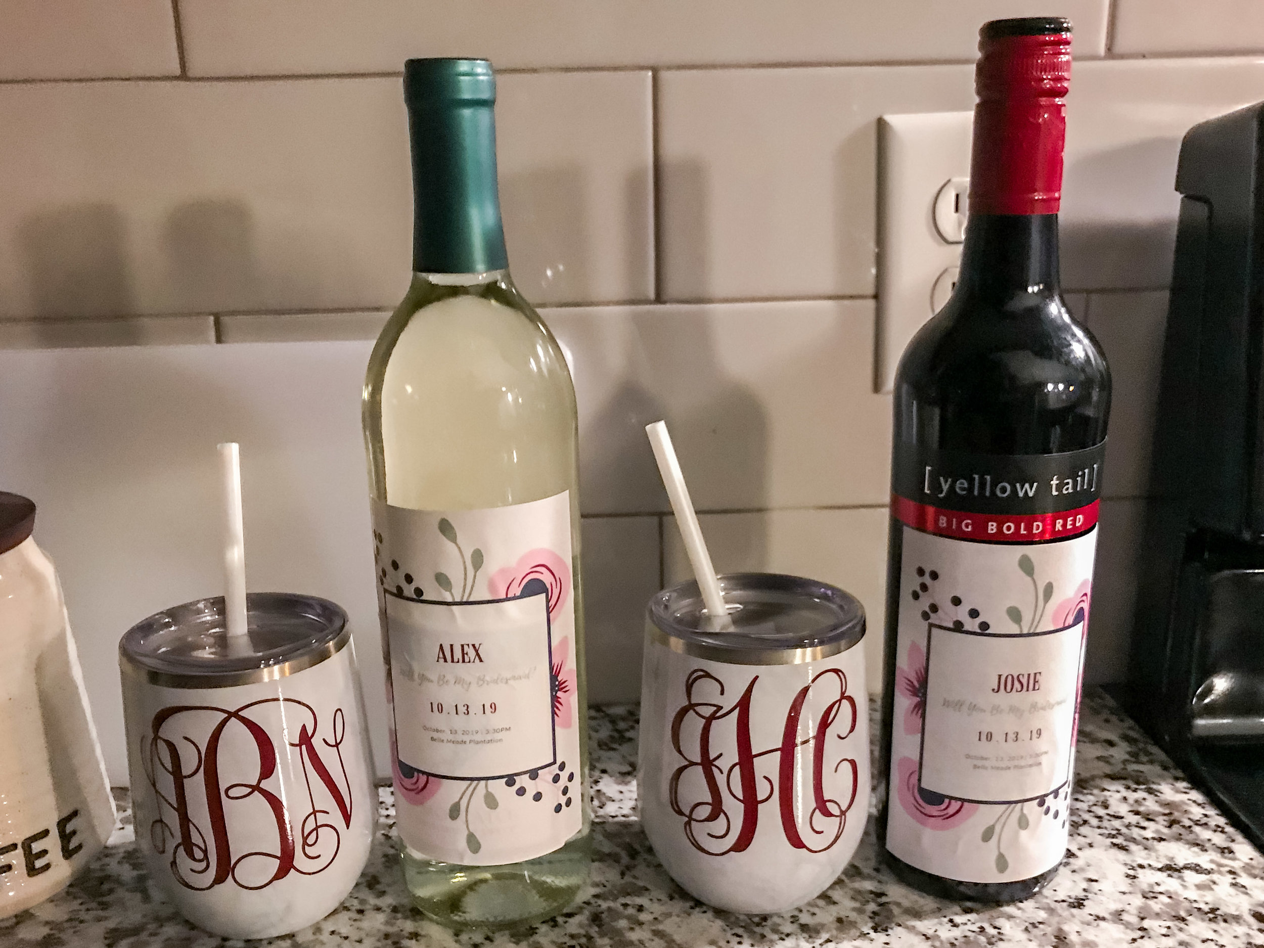 Wine Tumblers, Personalized Wine Label, Bridesmaid proposal