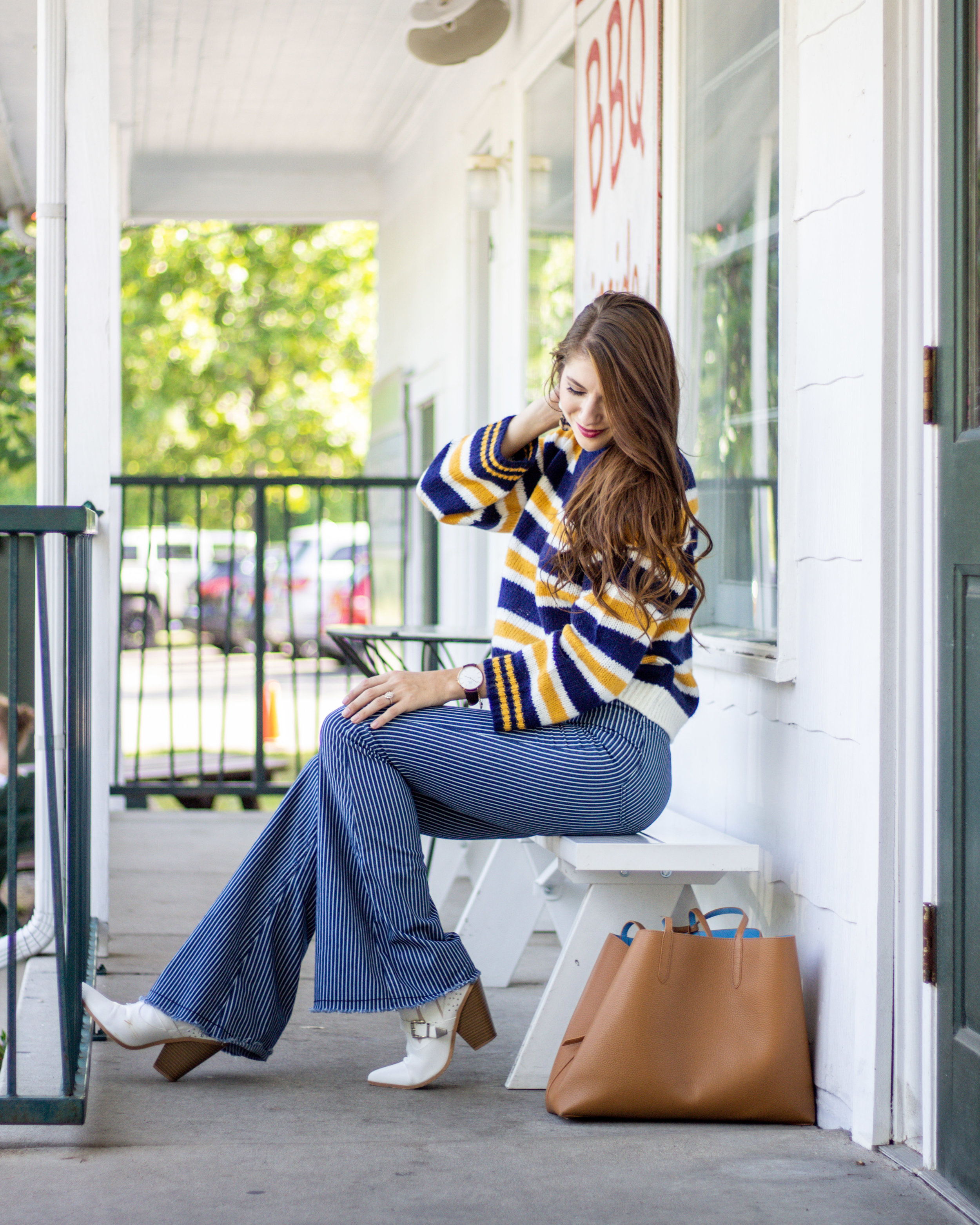 Striped cropped sweater, striped bell bottoms, cowboy boots