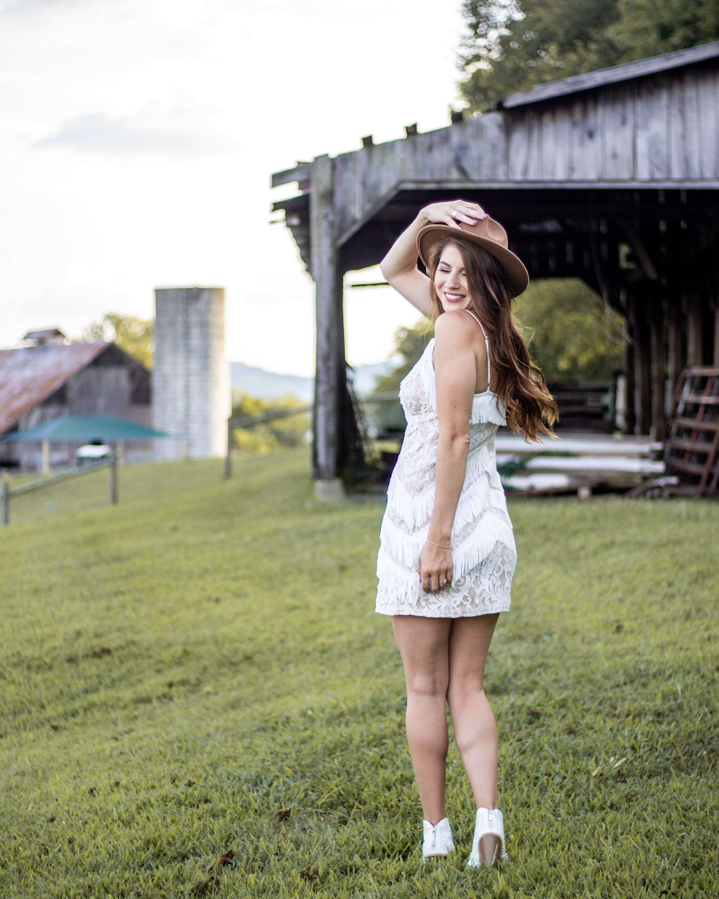White dress with white boots