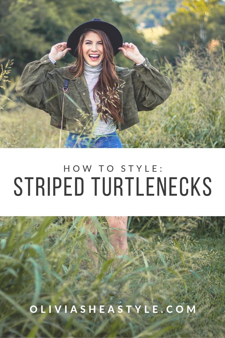Three ways to style a striped turtleneck for fall!
