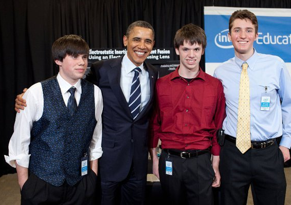 Pictured from left: Eric Thomas, Barack Obama, Demitri Hopkins, Forrest Betton