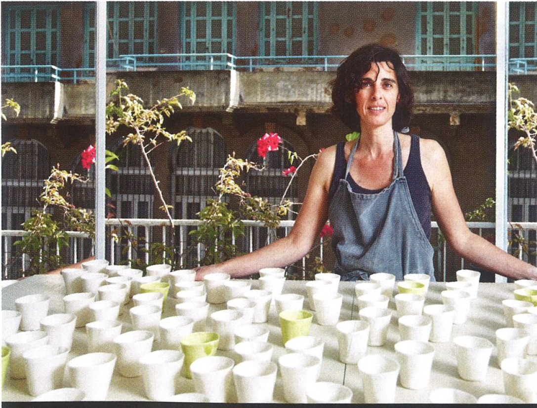 Nathalie Khayat - Nathalie Khayat is a ceramic artist. She started working with clay in Montreal in 1995, and later went to Beirut her native city, where she opened a studio for her practice and for the teaching of pottery.  She moved to New York in August 2016 ,  and is currently preparing a show for 2017. Her work has been exhibited in the USA, Montreal, France, London, Dubai and South Korea, as well as Lebanon.Nathalie has been working intensely with Porcelain; her sculptures and misshapen vessels vibrating through the imprints of her fingers that mold rythmic and evocative dialogs between the matter and the process of the making.  Her work becomes a contemplation, a projection of inner silence toward outward landscapes ; from immobility to movement.