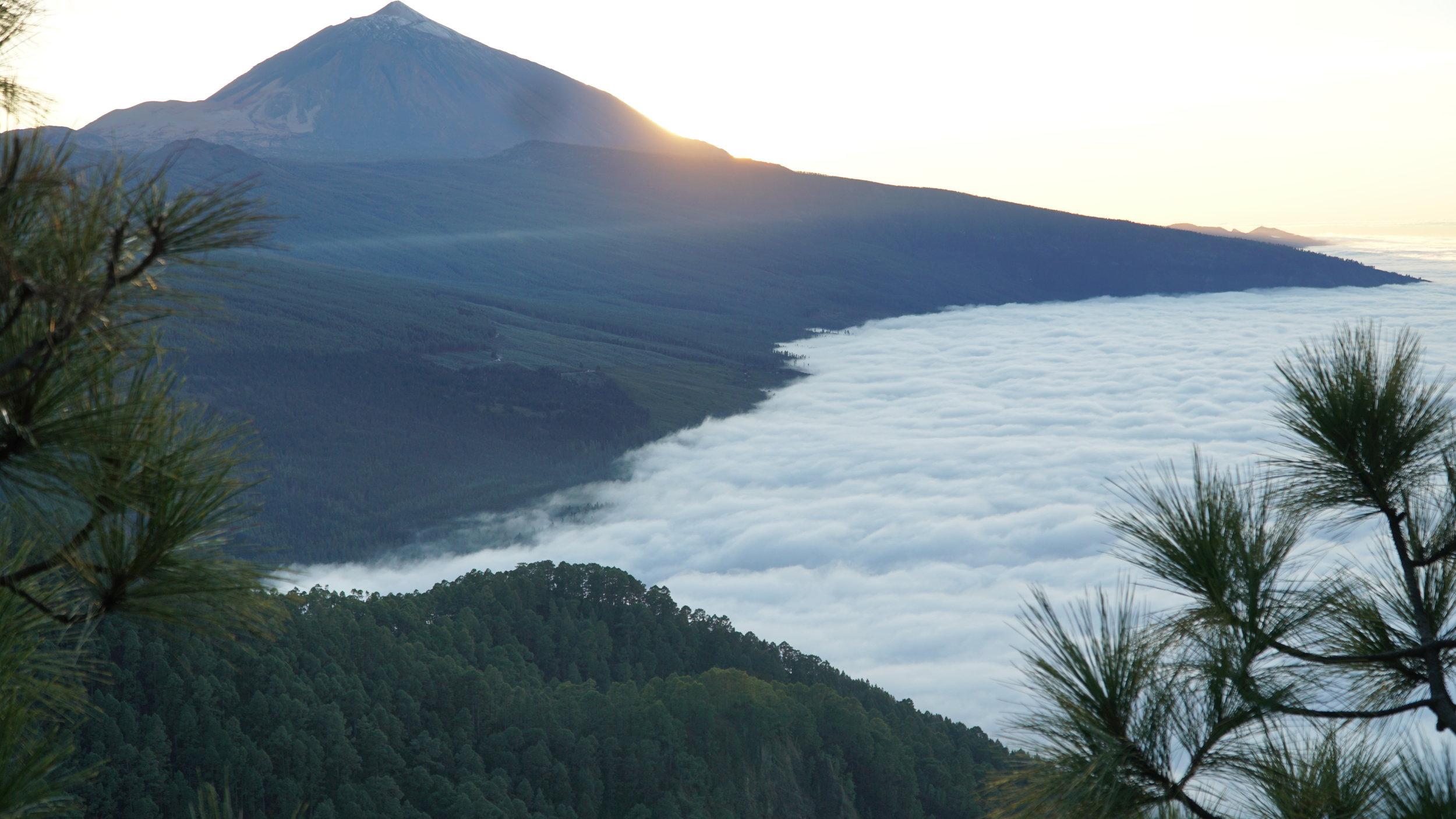 Sky-havet ligger for foden af mig og Teide, altimens solen går ned i Atlanterhavet