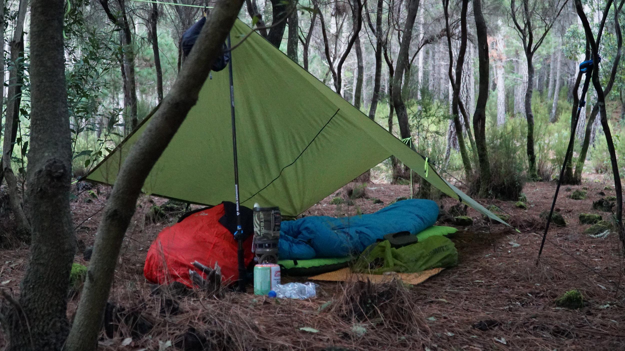 Godmorgen fra lejrpladsen - jeg ankom i mørket så det var først om morgenen jeg rigtigt fik mig et indtryk af området jeg havde sovet i.