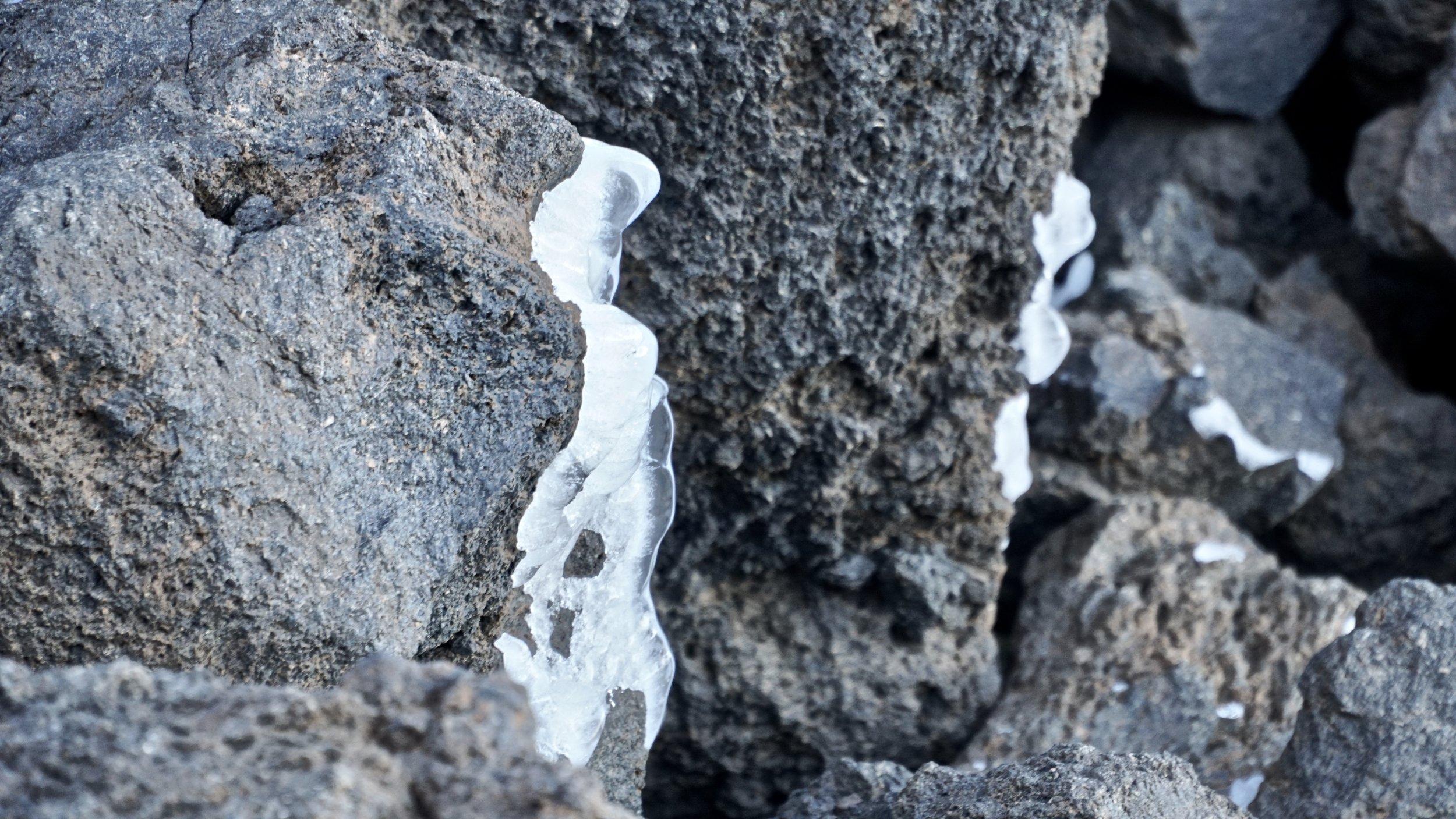 Skyggesiden af Teide bød på kulde og istapper