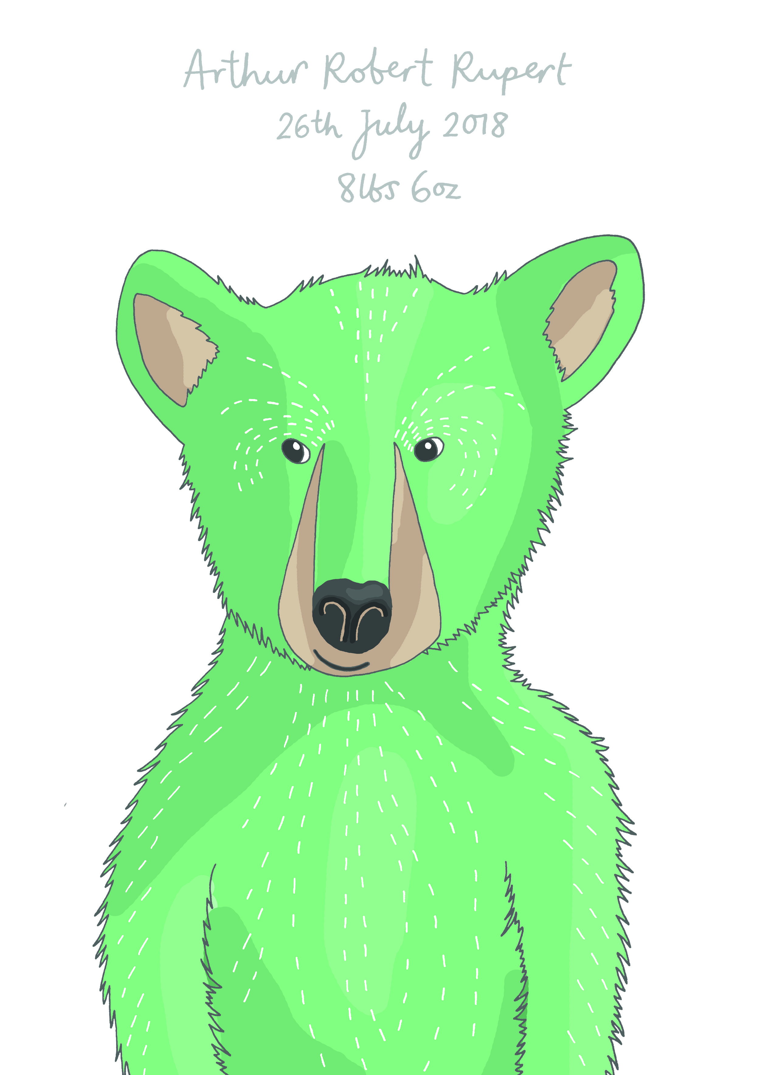 A baby bear drawn for baby Arthur.