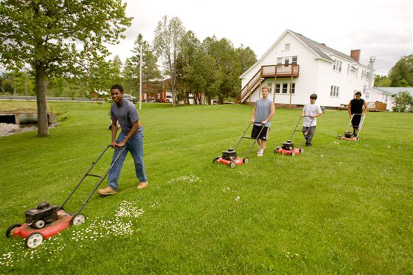 Mowing Gras at Boys' Home