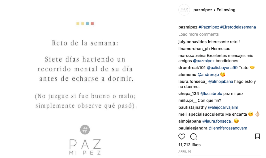 Una publicación reciente de Paz mi Pez en Instagram