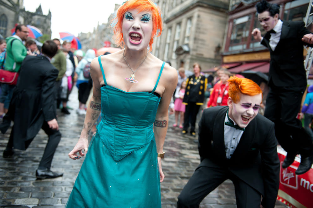 You see some strange sights in the streets of Edinburgh during the festival.