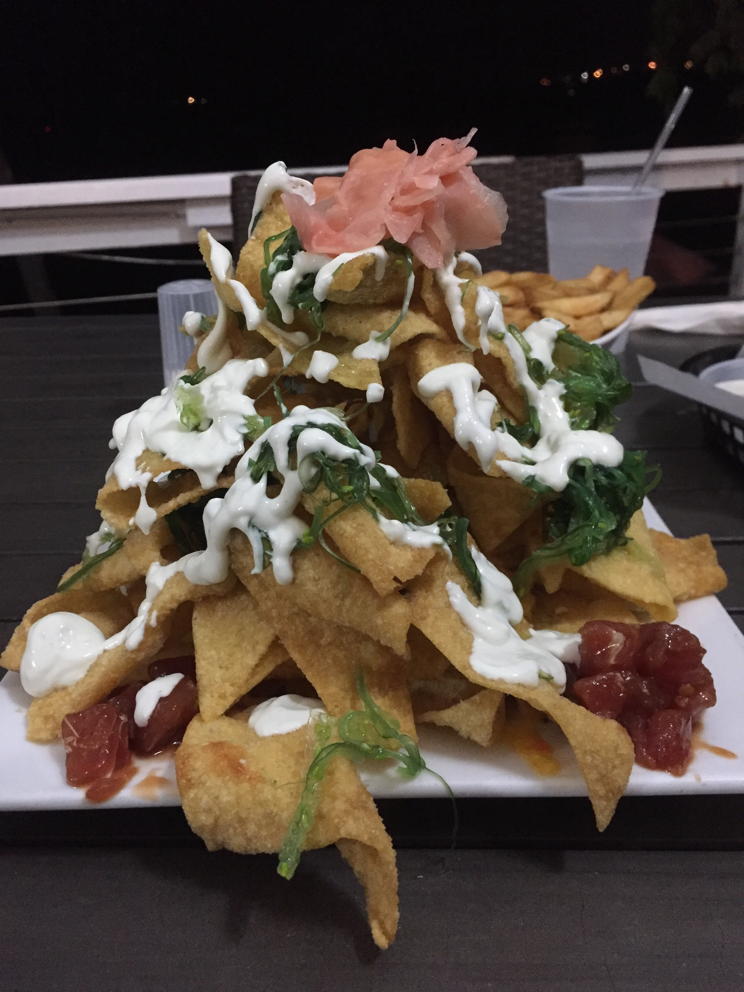 This is a half order of Ahi Nachos. It's as large as it looks.