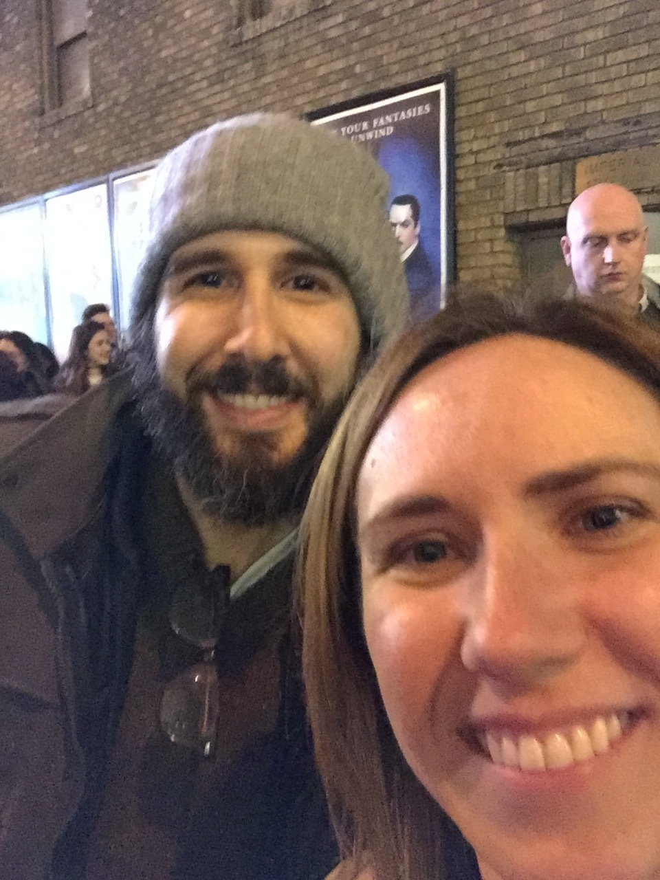 Never mind the poor quality (I'm a newbie at stage doors) - that's Josh Groban!!!