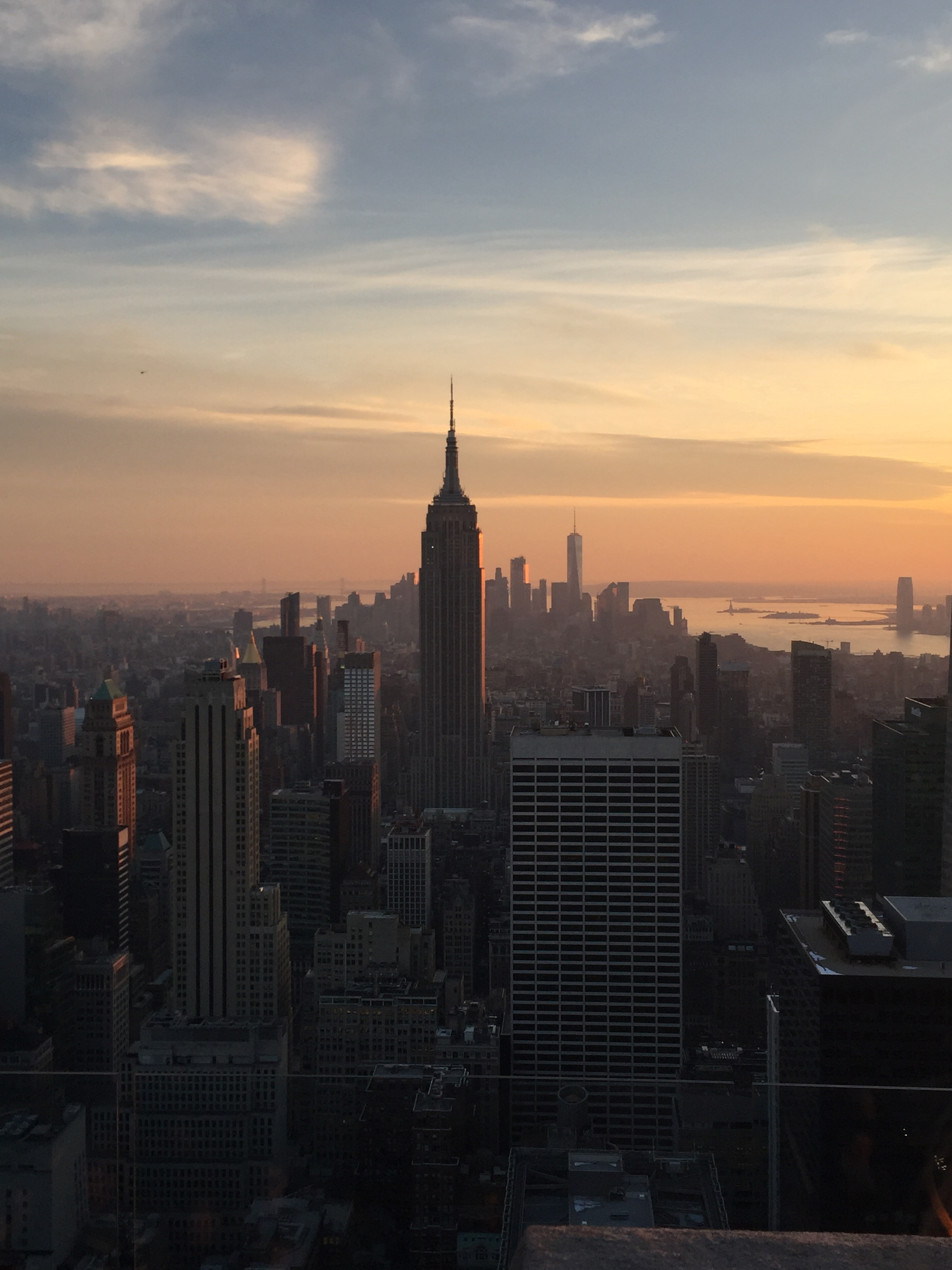 A view of Manhattan and the Empire State Building from Top of the Rock at sunset.