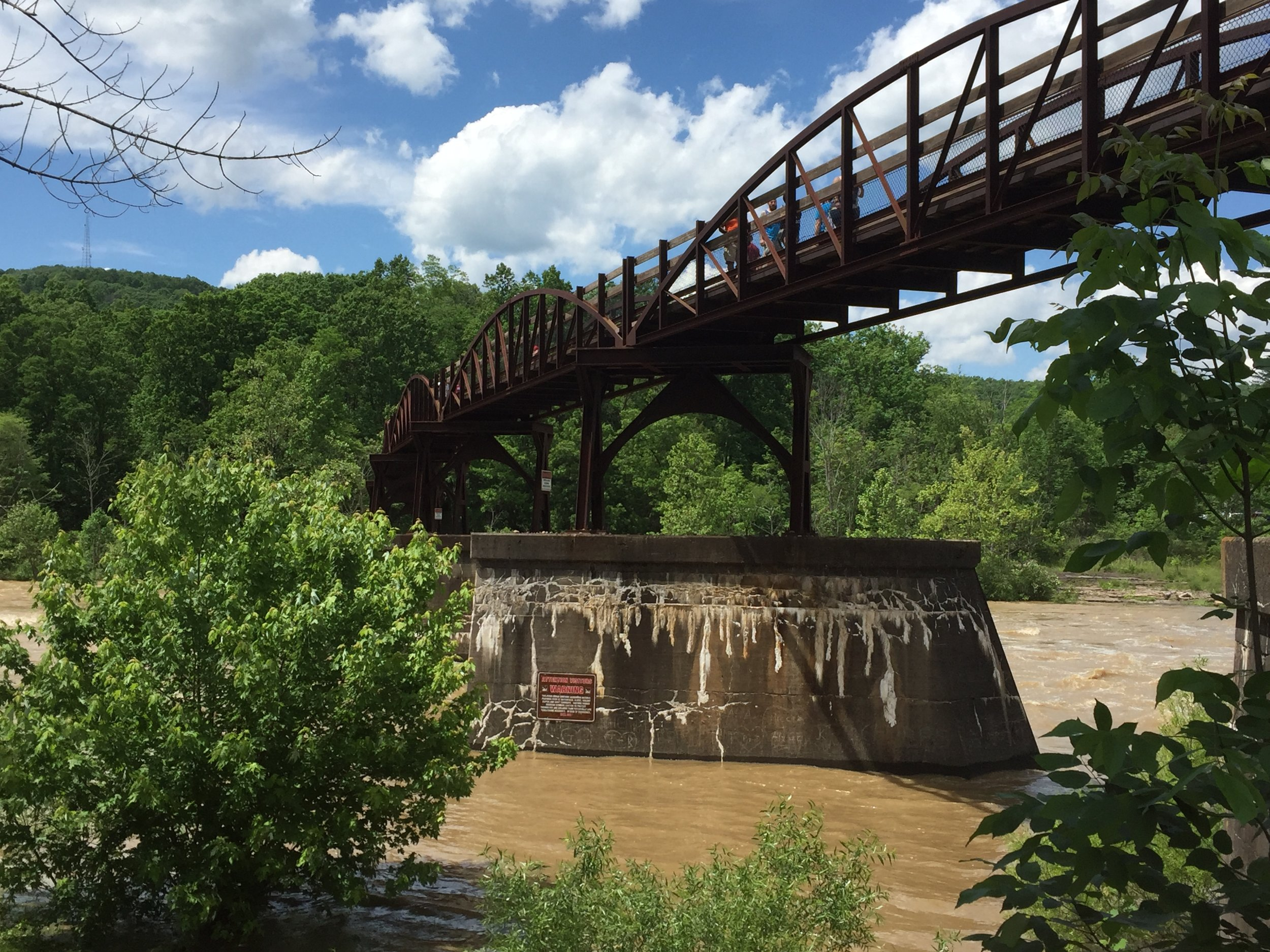 Looking out at the bridge crossing the Youghiogeny River in Ohiopyle