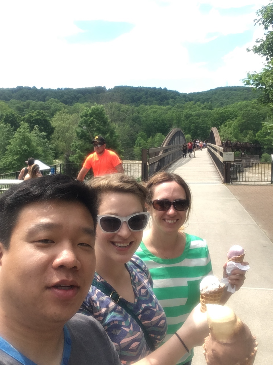Ice cream and a bridge. What could be better?