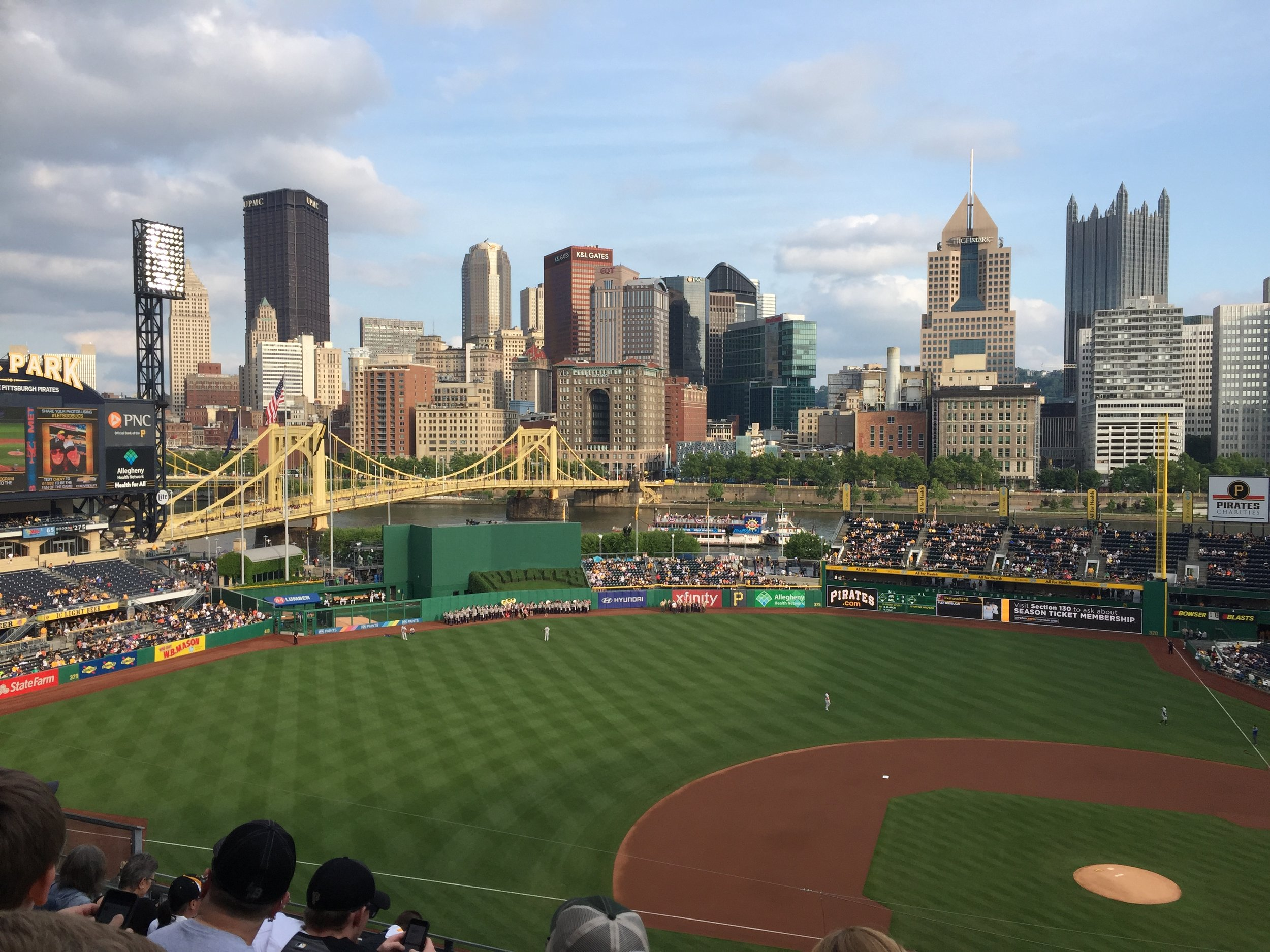 Looking out at the stadium, the river, and the city. Can't get much better than this!