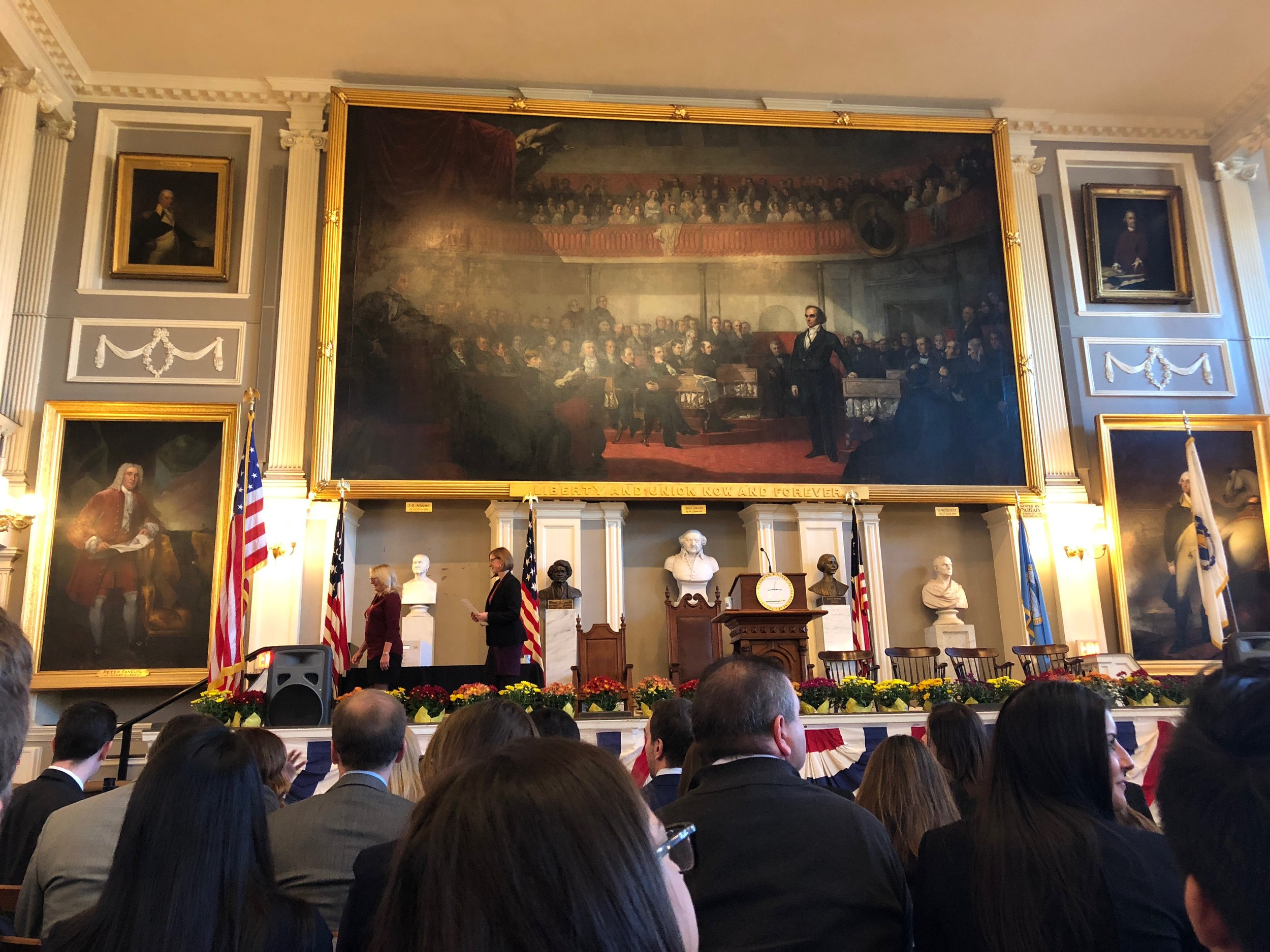 The view from my seat. The big painting in the middle is of Daniel Webster fighting for states' rights in the Old Senate Chamber of the Capitol Building in Washington, D.C.