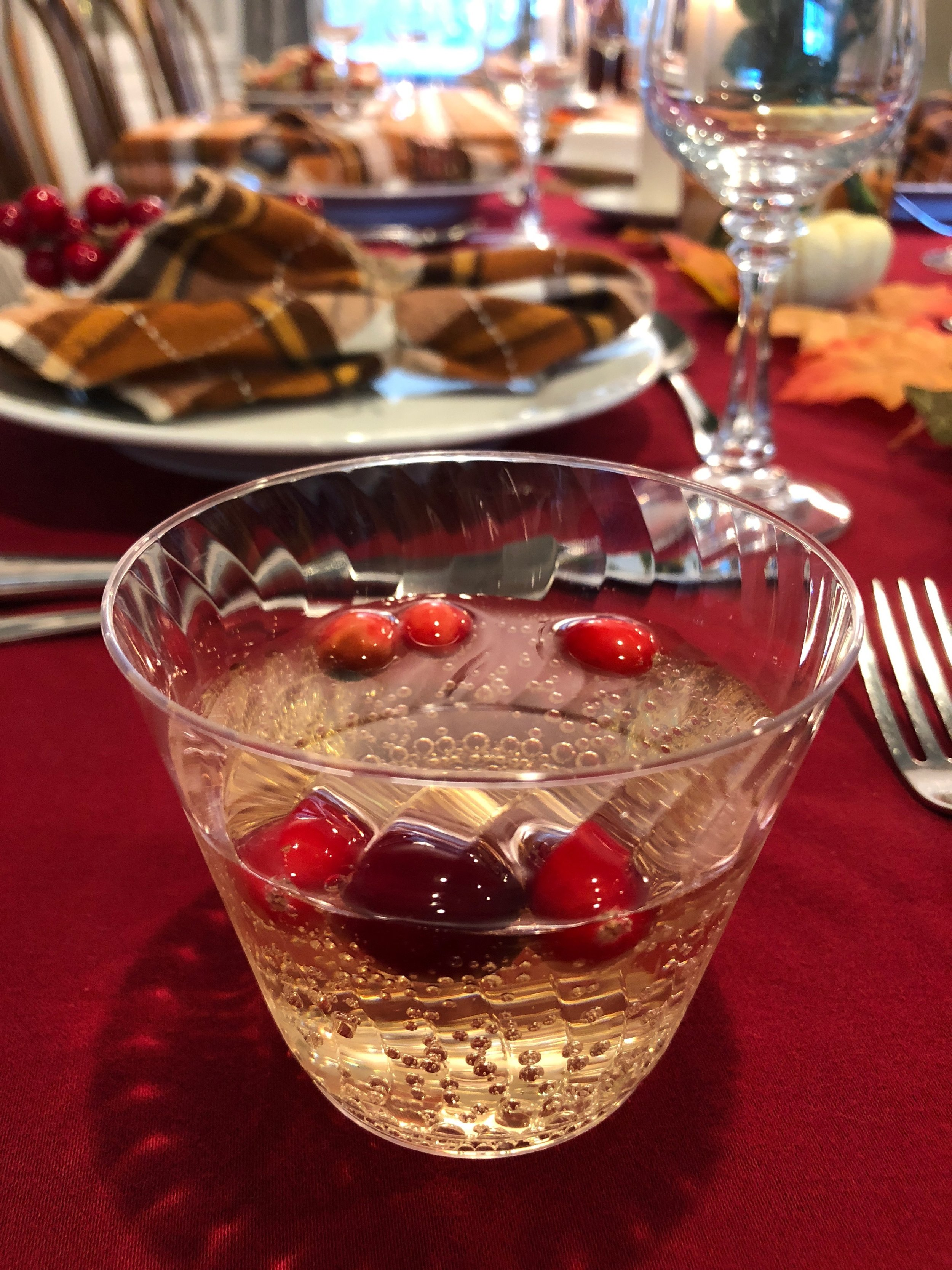 White cranberry, ginger ale, and frozen cranberries for Thanksgiving dinner.