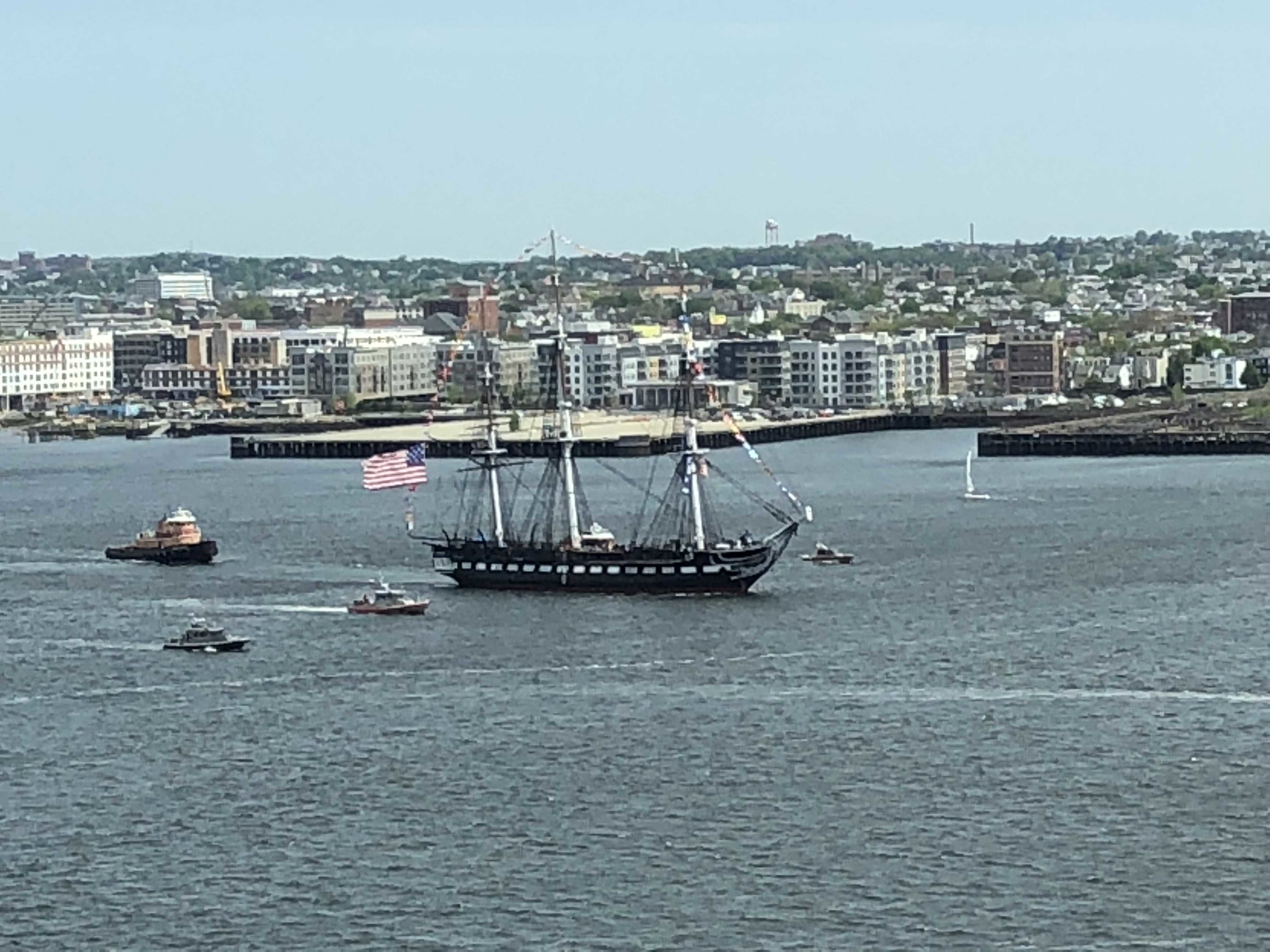 Looking out the window of my office at the USS Constitution. (Grainy photo, but I zoomed way in.)