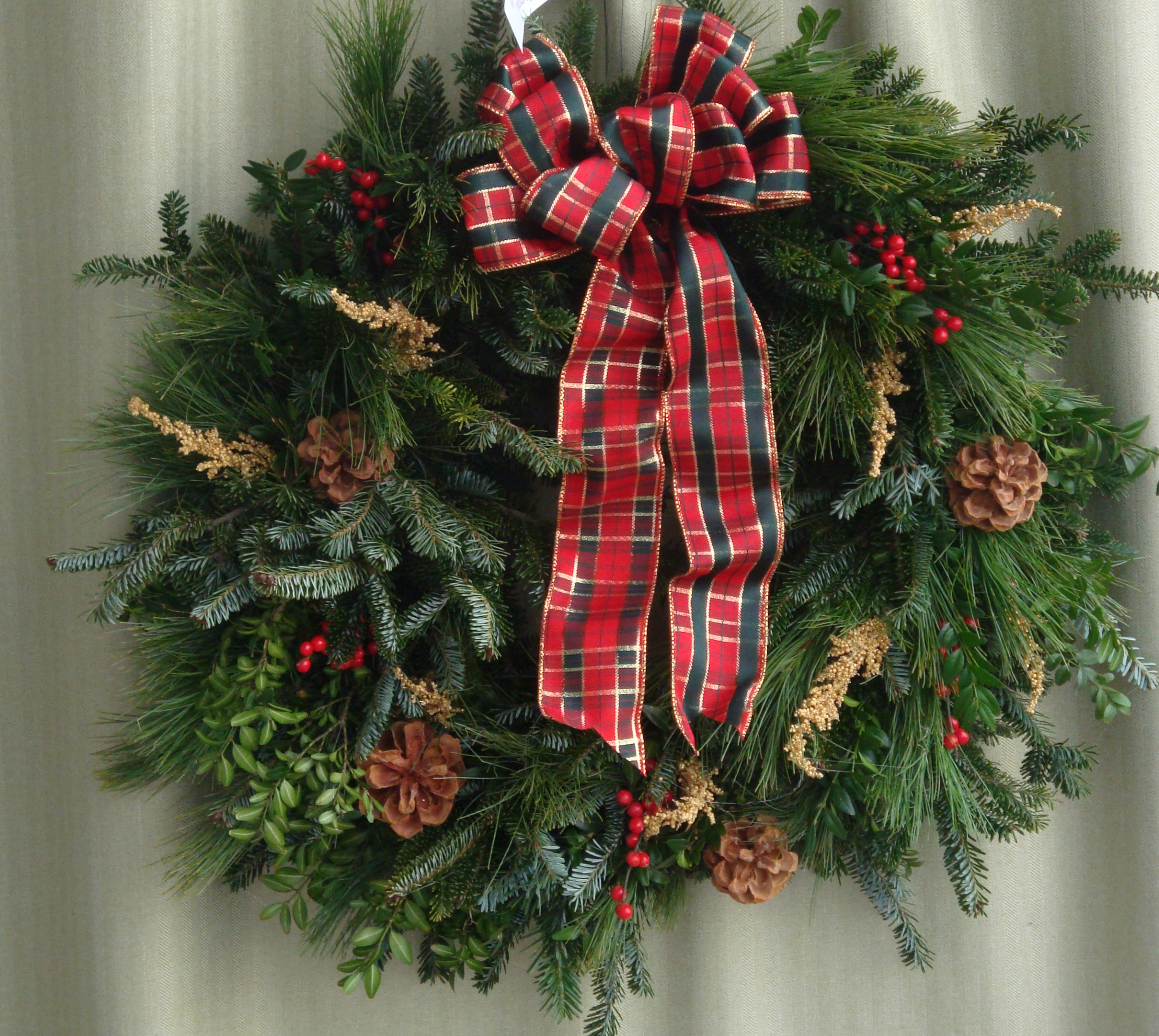 W- Mixed wreath  with red plaid ribbon.jpg