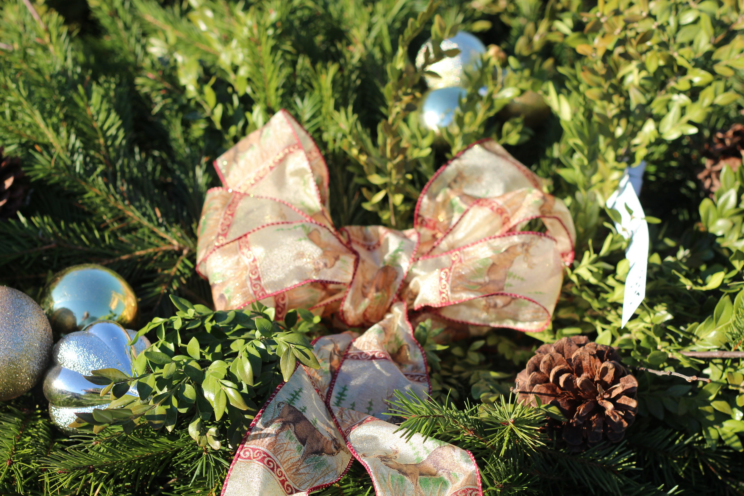 GC- Grave Cover close up bow silver balls.JPG