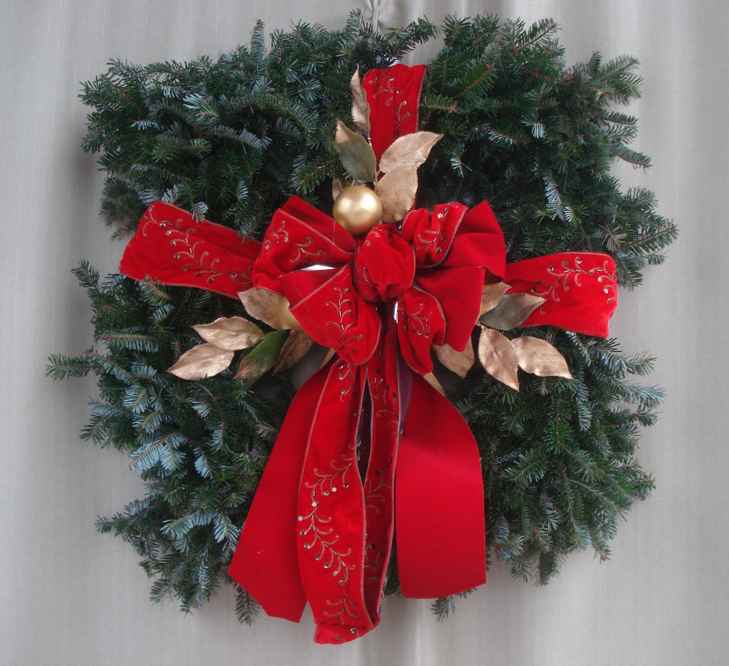 S- Square wreath wrapped as a present.jpg