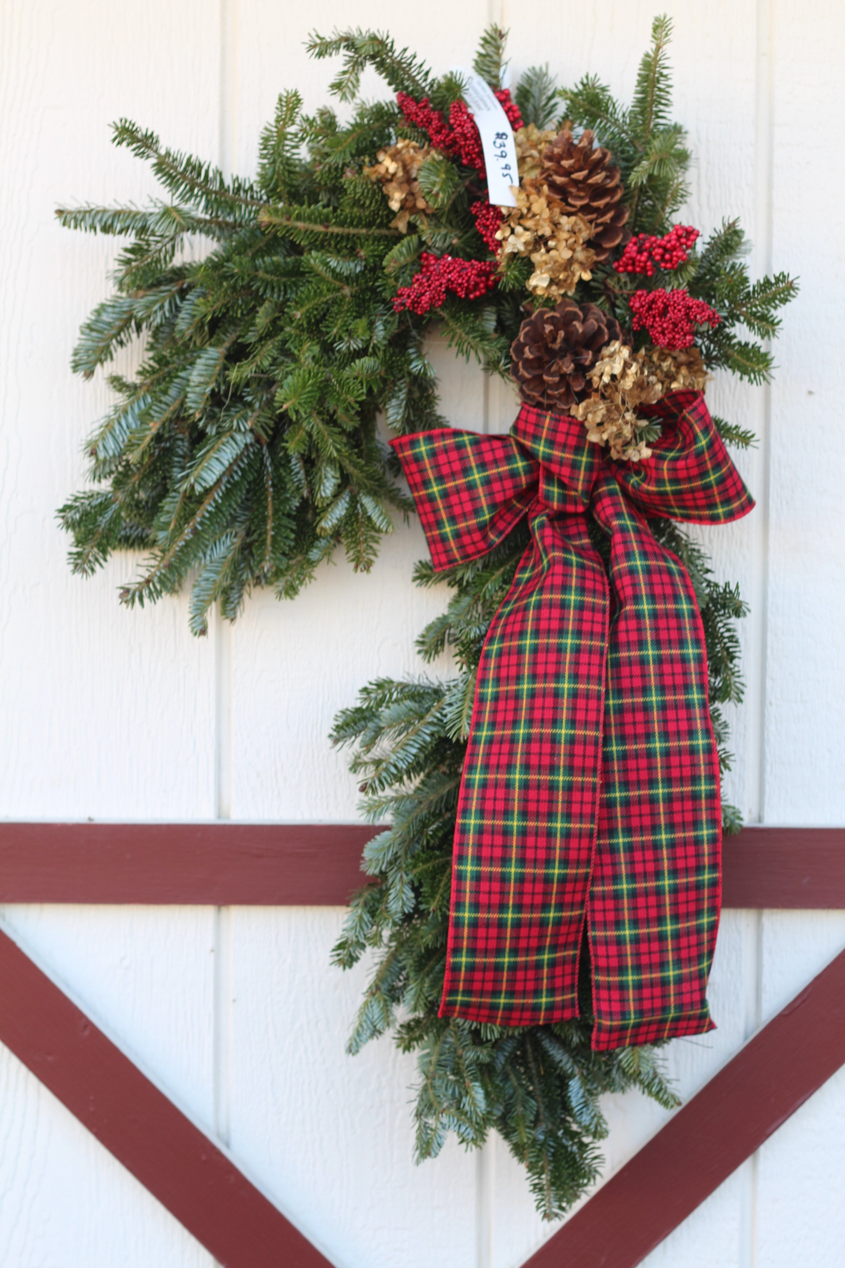 CC- Candy Cane with plaid bow dried hydrengea.JPG
