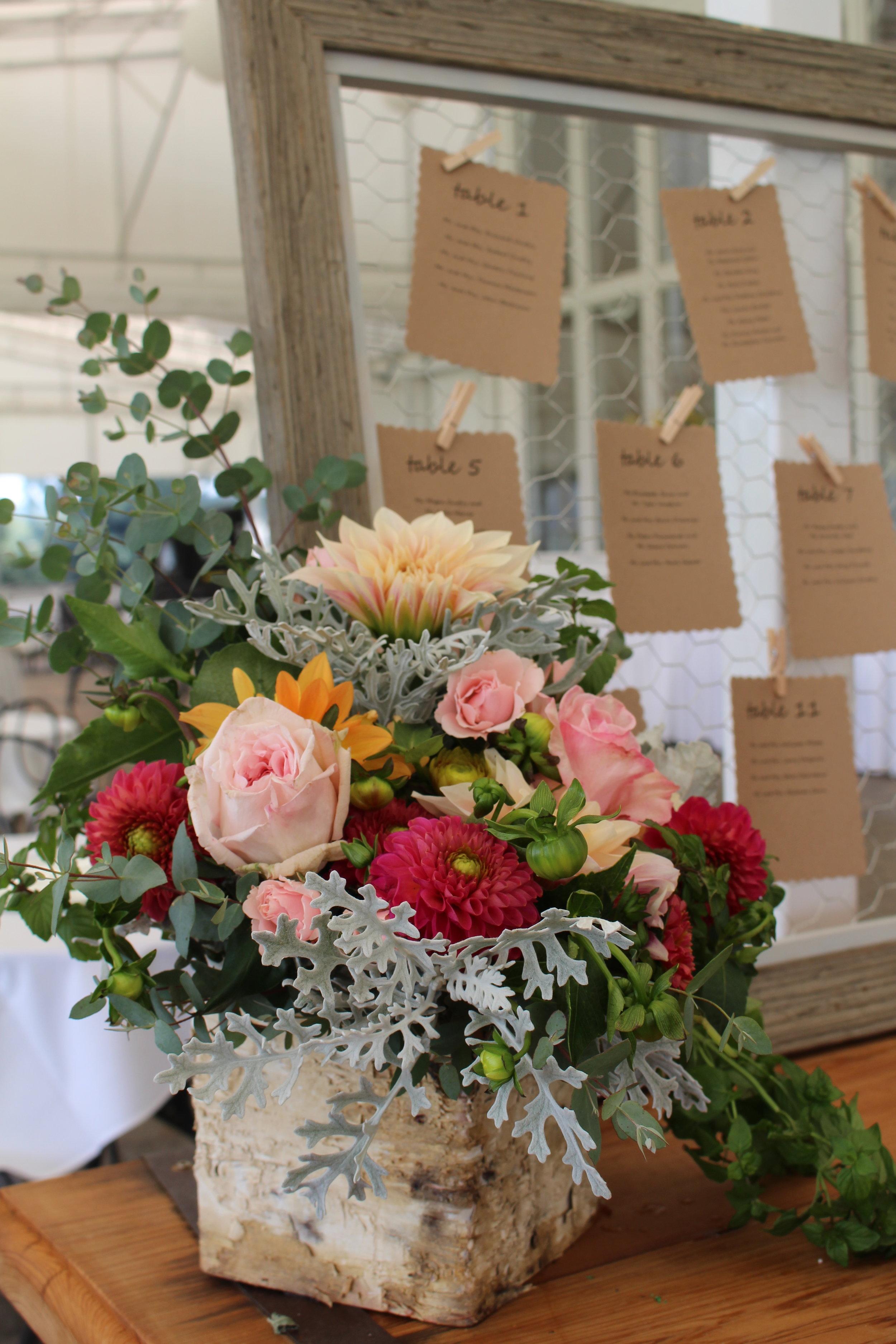 A- Birch container of garden flowers.JPG