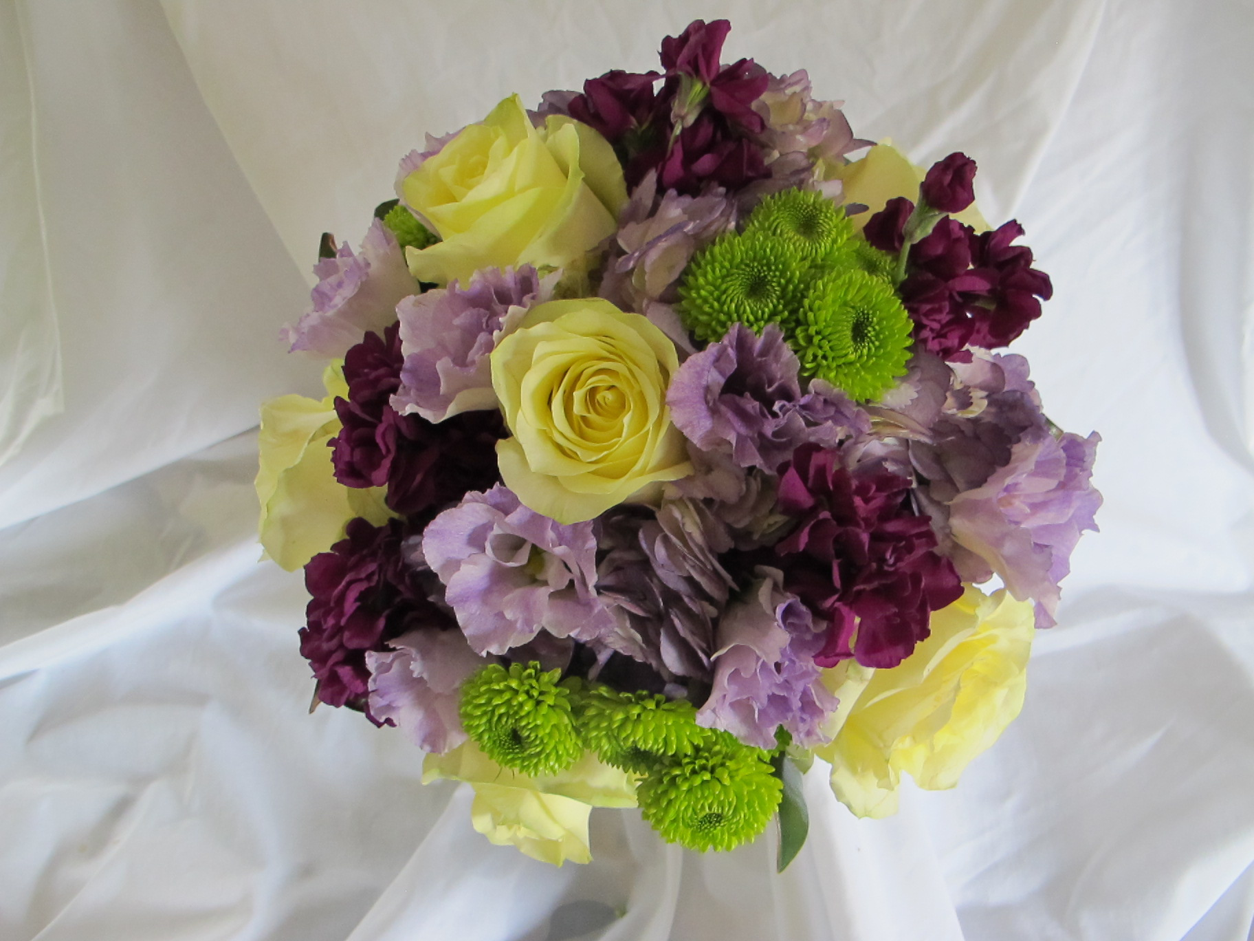 B- Cream yellow roses with lavender lisanthus and purple stock.JPG