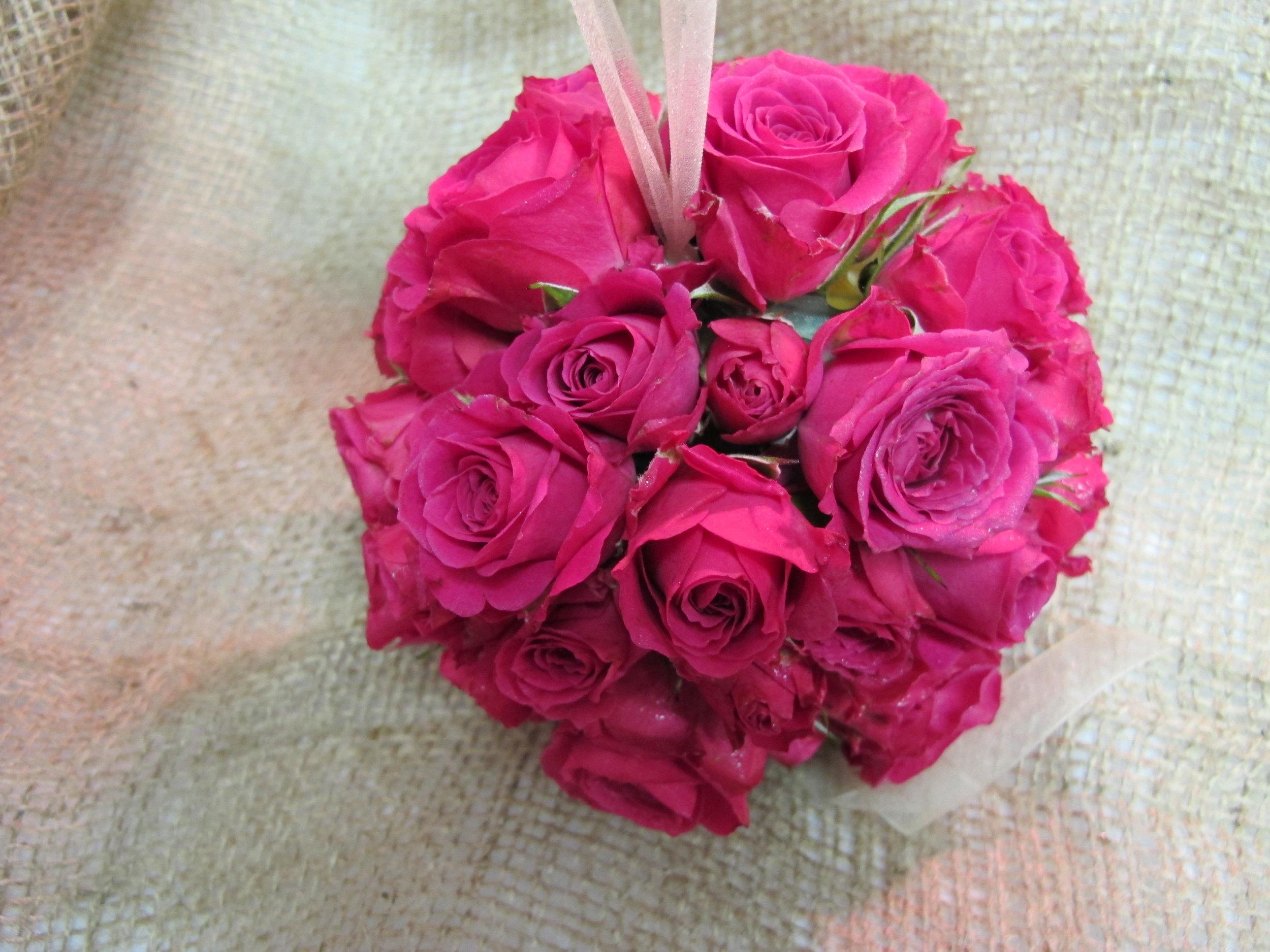 FB- Flower girl ball of hot pink roses.JPG