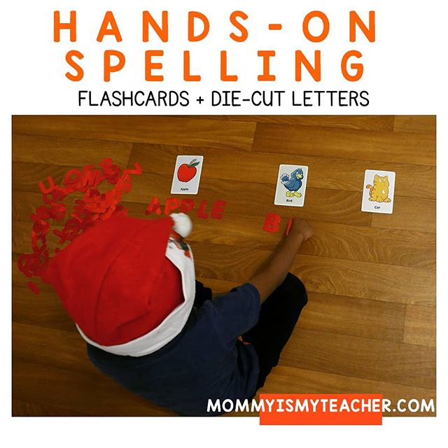 Easy hands-on spelling practice,  all you need is die-cut letters and alphabet flashcards (both from @dollartree.  Perfect spelling & reading activity.  P.S. Yes, he is still in the  holiday spirit in January! 😂