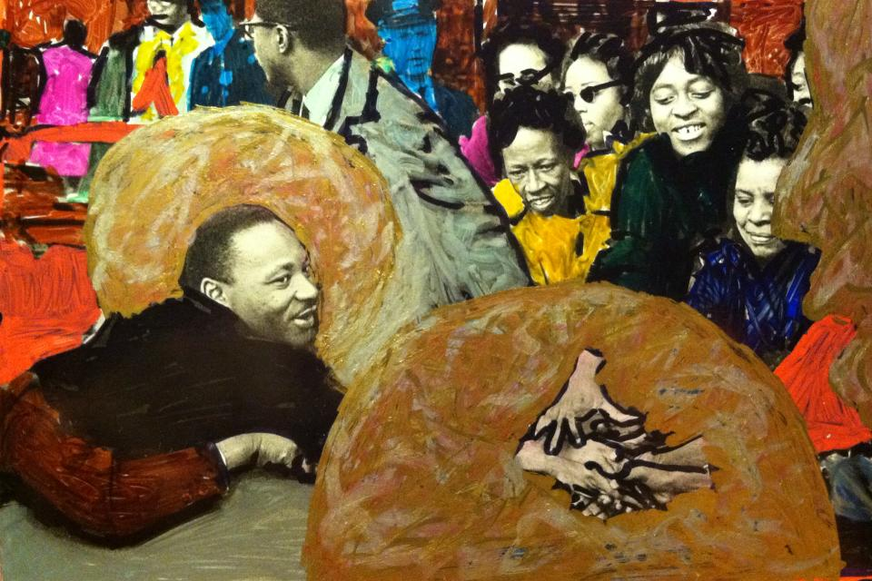 Martin Luther King Jr. in Baltimore,  2015. Photo by Leonard Freed, paint and ink by Mark Gunnery.Inspired by  Stephen Towns 's Co-Patriot series and  Father Bill McNichols' s icons.