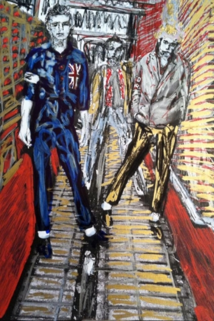 The Clash, 2014. Photo by Kate Simon, pen and ink by Mark Gunnery.