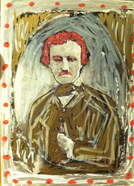 Edgar Allan Poe, 2014. Paint and ink by Mark Gunnery.