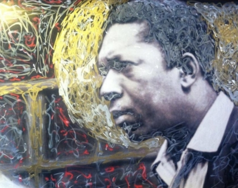 """John Coltrane,  2014. From the cover photo of """"A Love Supreme,"""" photo by Bob Thiele, paint and ink by Mark Gunnery.Inspired by  Stephen Towns 's Co-Patriot series and  Father Bill McNichols 's icons."""