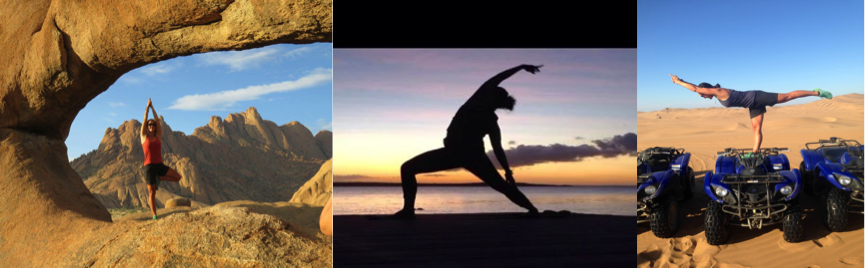 Yoga in Namibia desert and on the jetty of Groote Eylandt.