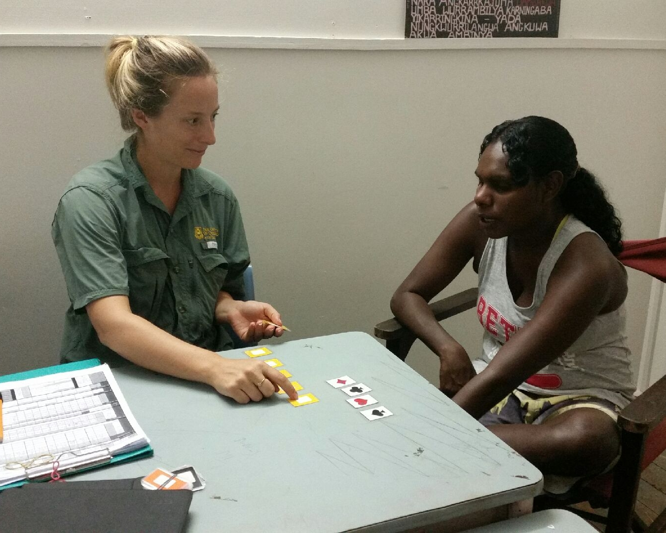 Gwen with our star local guide, Joselle, running through a practice test