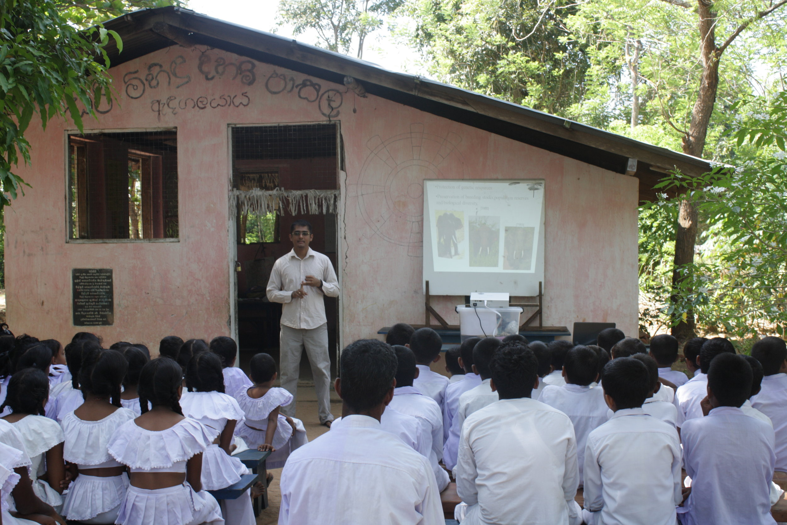 Ashoka conducting awarenes programmes in a sunday school in the villages bordering the UWNP