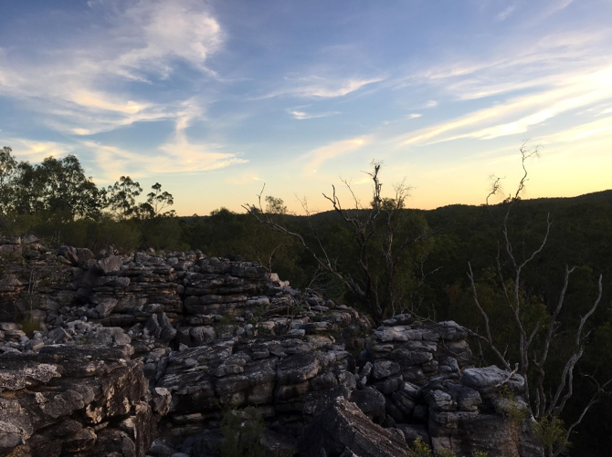 Sunsetting from HW6 - one of our rocky trapping sites - quolls from here were names after big cats (Tiger, Lion, Civet, Puma etc etc)!