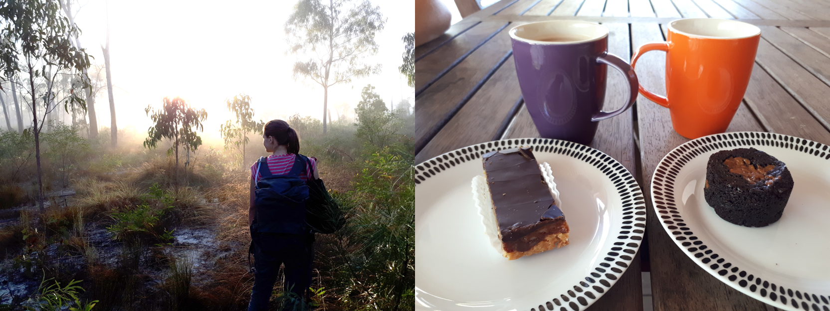 Backpacks loaded and an early start to beat the heat (left) and celebratory bakery treats to keep energy up from Grooty Eylandt Bakery (right).
