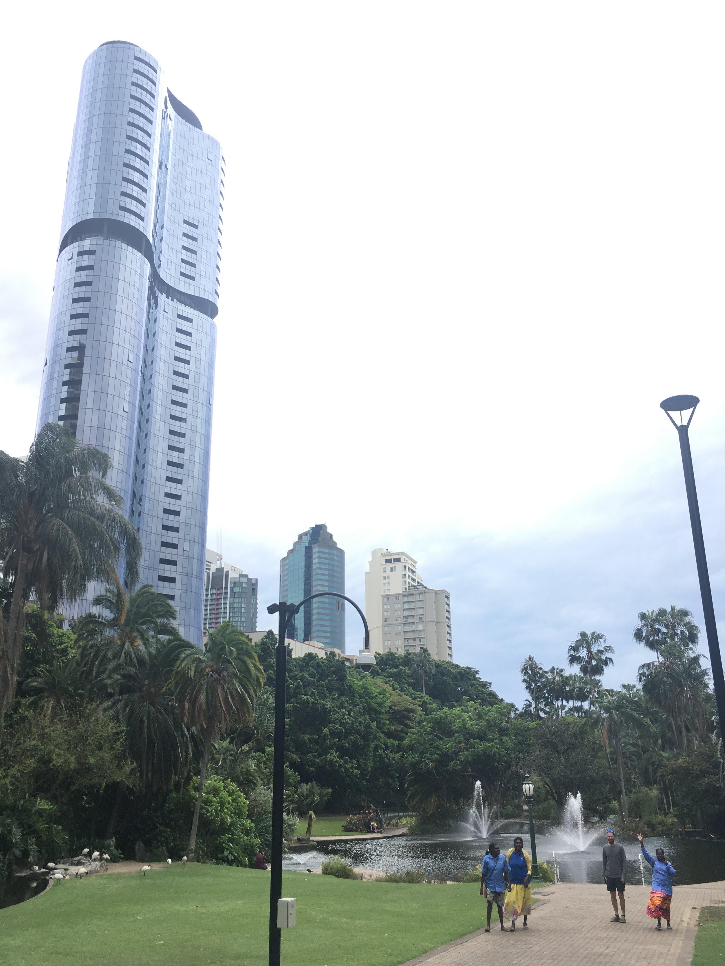 Photo: Cassandra Mamarika, Catherine Mamarika, Andrew Hunter & Jocelyn Yantarrgna strolling through the Brisbane Botanical Gardens.