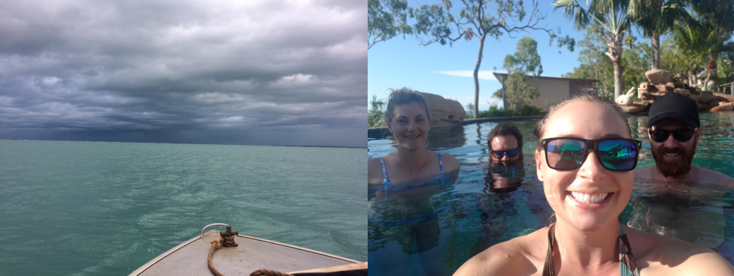 Some time on the tinny, and meetings in the pool (Miranda, Bushy, Natalie and Chopper)