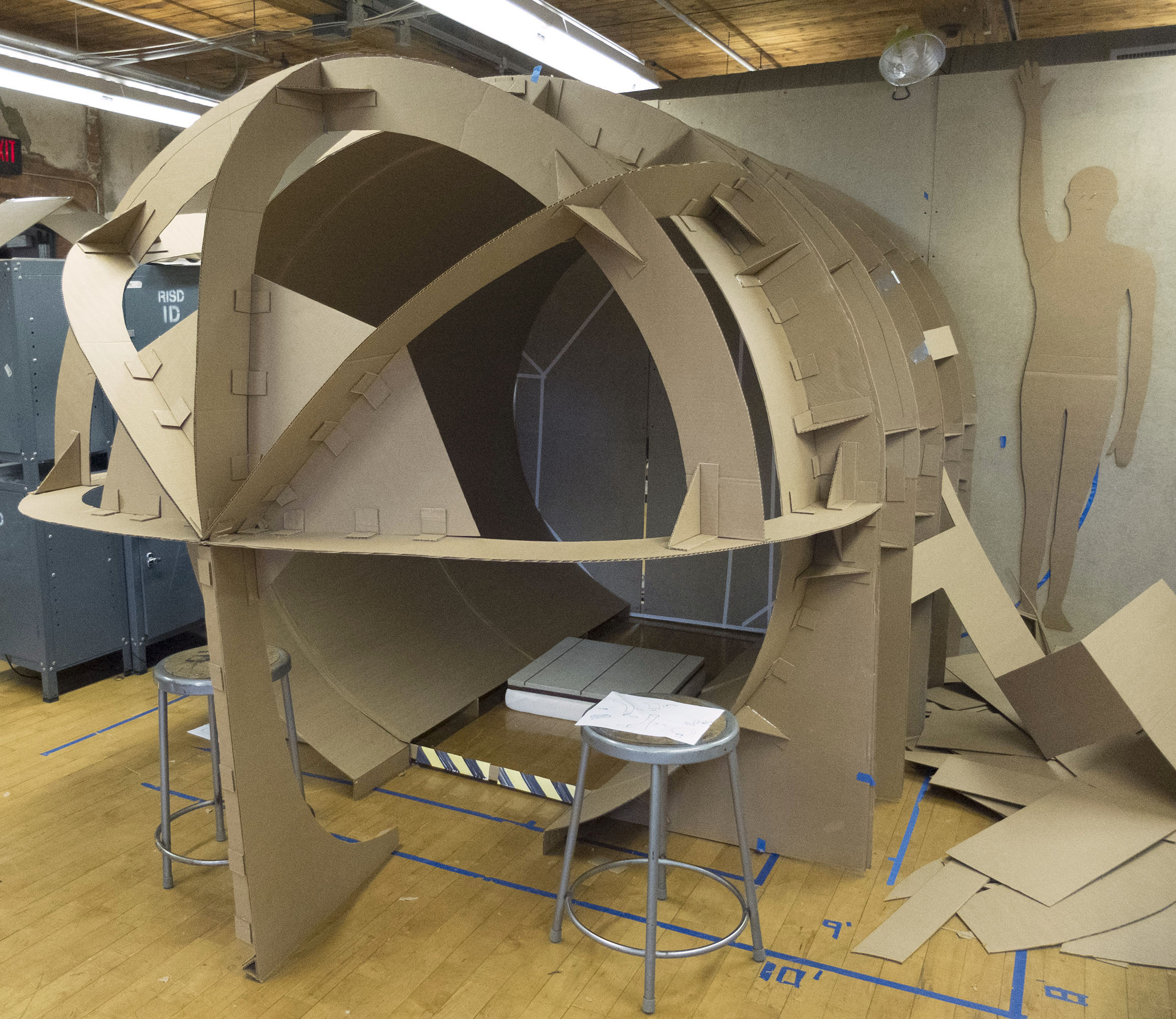 Full scale cardboard model, used for determining final dimensions and placement of equipment