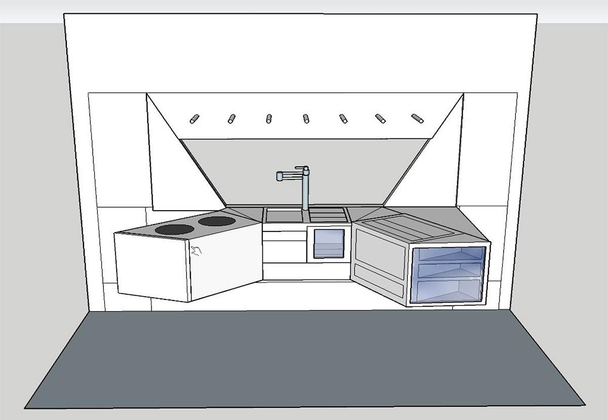Final rendering of kitchen concept, students: Alyssa Gerasimoff, Carter Green, Wei Zhang, Izabela Clarke