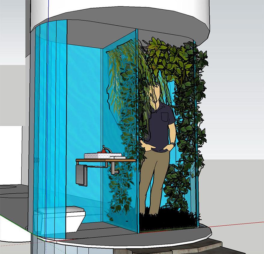 Final rendering of bathroom concept, students: Jasmine Gutbrod, Marcus Peabody, Tiarra Bell, Jae Yoon Myung, Qyu-Ri Kim