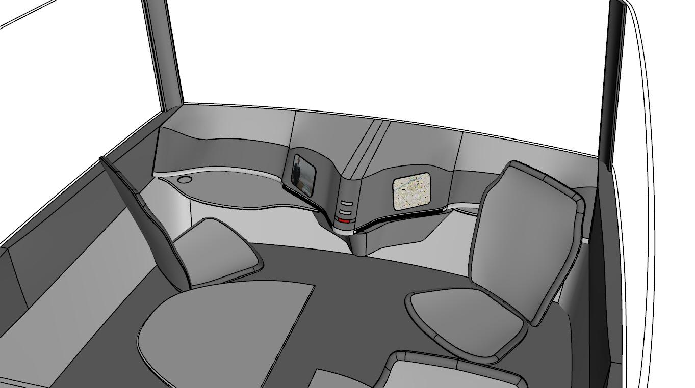 Quick conceptual rendering of a future self-driving car interior