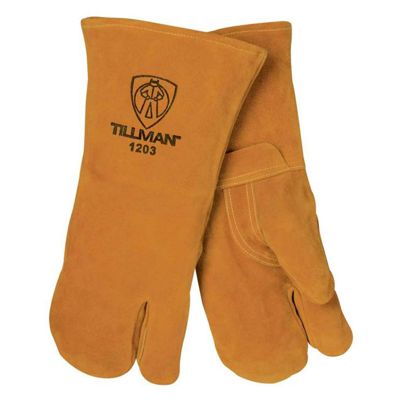 Three Fingered Tillman Welding gloves on Amazon.com. $19.99   https://www.amazon.com/Tillman-Premium-Cowhide-3-Finger-Welding/dp/B003GM83IA/ref=sr_1_8?keywords=Three+finger+welding+gloves&qid=1556723449&s=gateway&sr=8-8   These three fingered Tillman gloves kind of act as reverse mittens, dissapating heat around each finger. I have had too many fingers on welding gloves get really hot and bend backwards rendering them unusable, or had to remove my hand from the glove while it cools down. Never have I had to do this with these gloves. The three finger thing takes a little getting used to, and most people love them or hate them. I believe they last longer because they dont wear through a single finger near as fast.